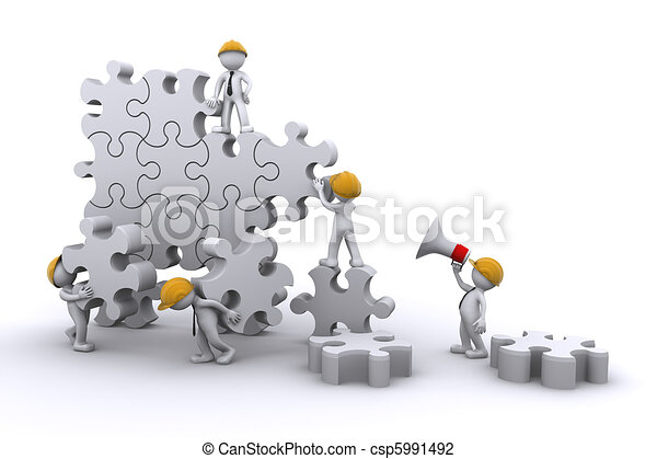 business team work building a puzzle. Business developing concept. - csp5991492