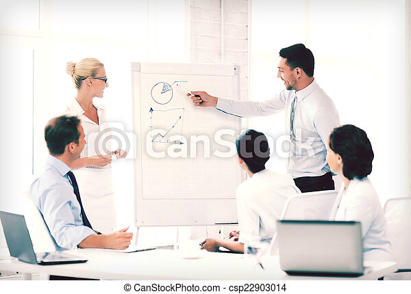 business team working with flipchart in office - csp22903014