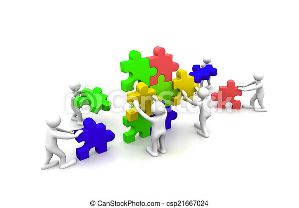 Business teamwork building puzzles together - csp21667024