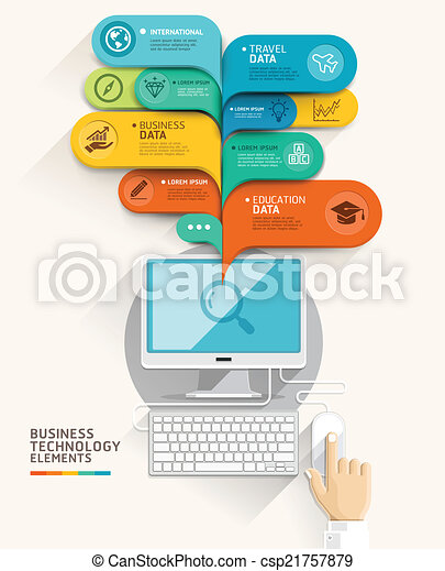 Business technology concept. Computer and bubble speech template. Vector illustration. can be used for workflow layout, diagram, number options, step up options, web design, banner template, infograph - csp21757879