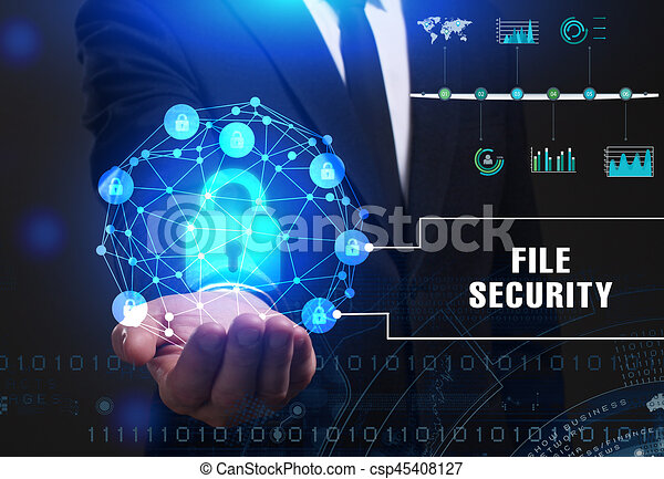 Business, Technology, Internet and network concept. Young businessman working on a virtual screen of the future and sees the inscription: File security - csp45408127