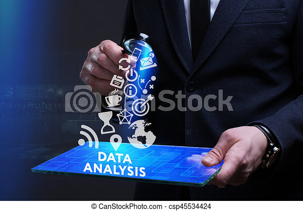 Business, Technology, Internet and network concept. Young businessman working on a virtual screen of the future and sees the inscription: Data analysis - csp45534424