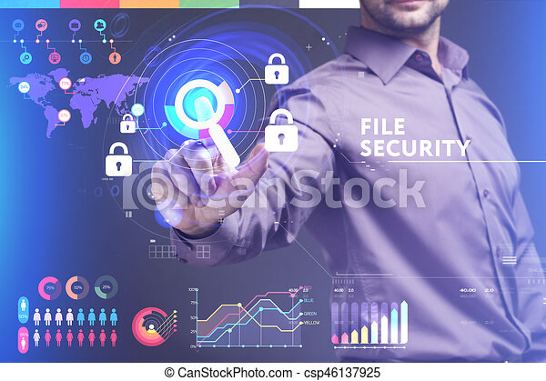 Business, Technology, Internet and network concept. Young businessman working on a virtual screen of the future and sees the inscription: File security - csp46137925
