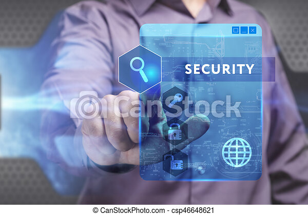 Business, Technology, Internet and network concept. Young businessman working on a virtual screen of the future and sees the inscription: Security - csp46648621