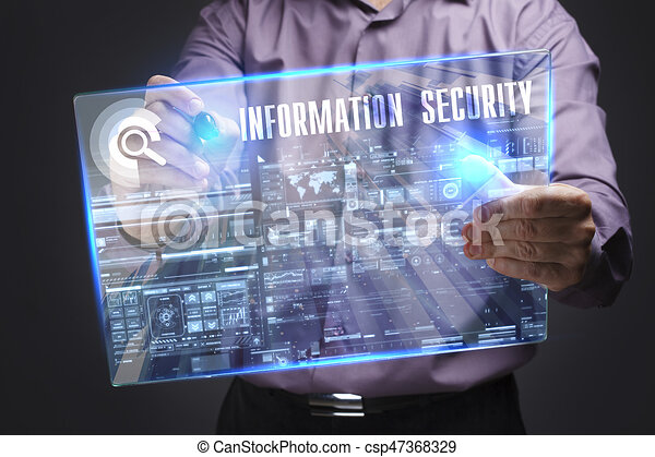 Business, Technology, Internet and network concept. Young businessman working on a virtual screen of the future and sees the inscription: Information security - csp47368329
