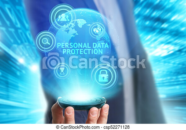 Business, Technology, Internet and network concept. Young businessman working on a virtual screen of the future and sees the inscription: Personal data protection - csp52271128