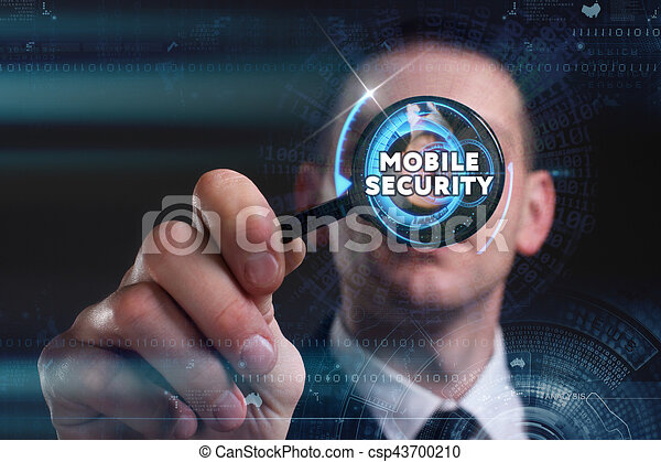 Business, Technology, Internet and network concept. Young businessman working on a virtual screen of the future and sees the inscription: mobile security - csp43700210