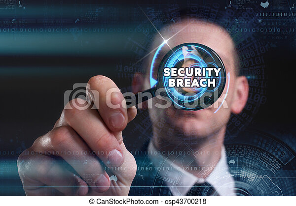 Business, Technology, Internet and network concept. Young businessman working on a virtual screen of the future and sees the inscription: security breach - csp43700218