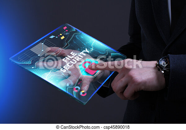 Business, Technology, Internet and network concept. Young businessman working on a virtual screen of the future and sees the inscription: File security - csp45890018