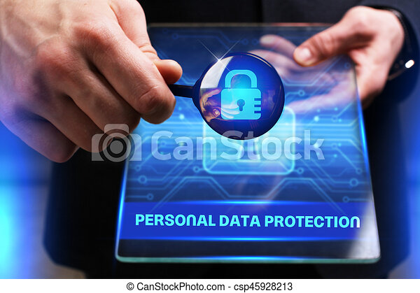 Business, Technology, Internet and network concept. Young businessman working on a virtual screen of the future and sees the inscription: Personal data protection - csp45928213
