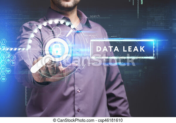 Business, Technology, Internet and network concept. Young businessman working on a virtual screen of the future and sees the inscription: Data leak - csp46181610
