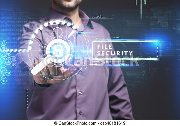 Business, Technology, Internet and network concept. Young businessman working on a virtual screen of the future and sees the inscription: File security - csp46181619