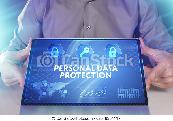 Business, Technology, Internet and network concept. Young businessman working on a virtual screen of the future and sees the inscription: Personal data protection - csp46384117