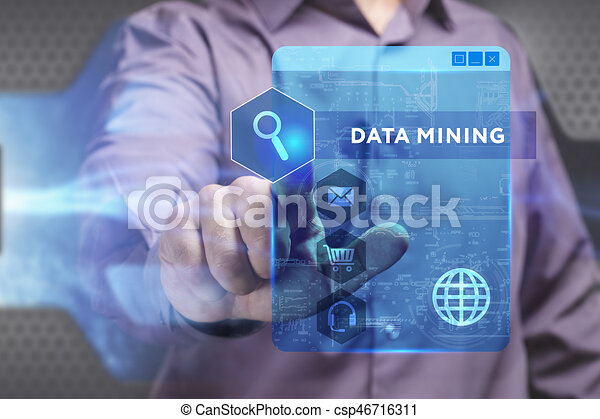 Business, Technology, Internet and network concept. Young businessman working on a virtual screen of the future and sees the inscription: Data mining - csp46716311