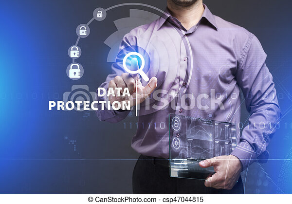 Business, Technology, Internet and network concept. Young businessman working on a virtual screen of the future and sees the inscription: Data protection - csp47044815