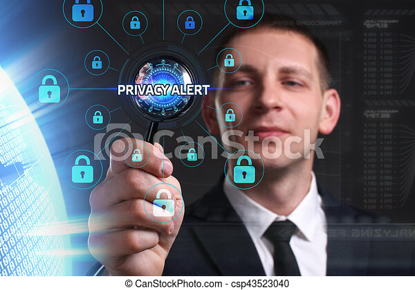 Business, Technology, Internet and network concept. Young businessman working on a virtual screen of the future and sees the inscription: Privacy alert - csp43523040