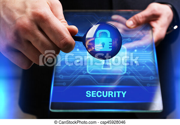 Business, Technology, Internet and network concept. Young businessman working on a virtual screen of the future and sees the inscription: Security - csp45928046