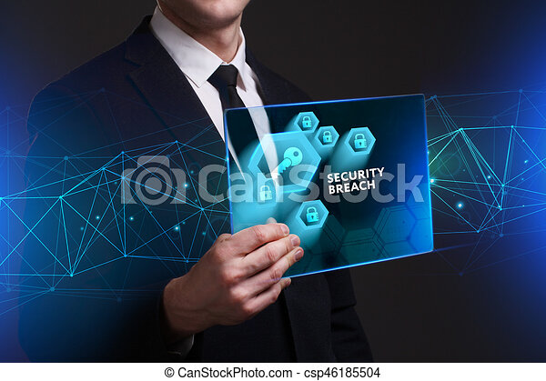 Business, Technology, Internet and network concept. Young businessman working on a virtual screen of the future and sees the inscription: Security breach - csp46185504