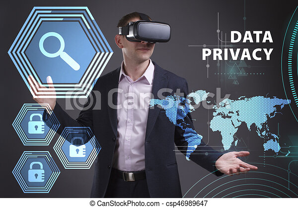 Business, Technology, Internet and network concept. Young businessman working on a virtual screen of the future and sees the inscription: Data privacy - csp46989647