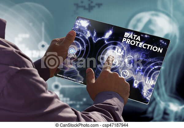 Business, Technology, Internet and network concept. Young businessman working on a virtual screen of the future and sees the inscription: Data protection - csp47187944