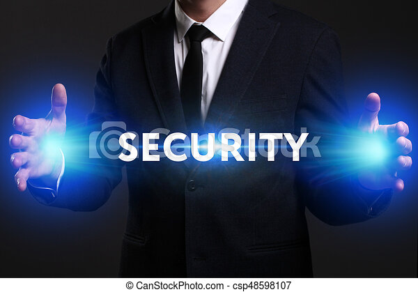 Business, Technology, Internet and network concept. Young businessman working on a virtual screen of the future and sees the inscription: Security - csp48598107