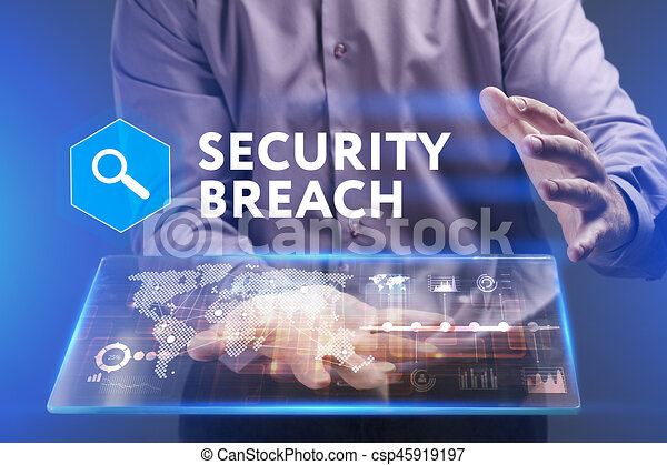 Business, Technology, Internet and network concept. Young businessman working on a virtual screen of the future and sees the inscription: Security breach - csp45919197