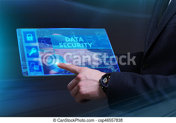 Business, Technology, Internet and network concept. Young businessman working on a virtual screen of the future and sees the inscription: Data security - csp46557838