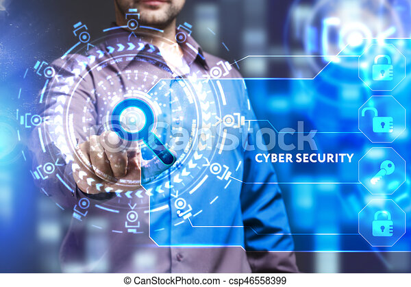 Business, Technology, Internet and network concept. Young businessman working on a virtual screen of the future and sees the inscription: Cyber security - csp46558399