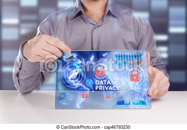 Business, Technology, Internet and network concept. Young businessman working on a virtual screen of the future and sees the inscription: Data privacy - csp46793230