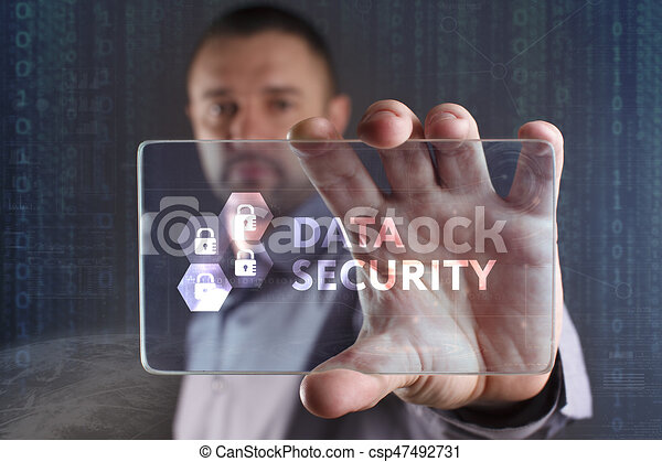 Business, Technology, Internet and network concept. Young businessman working on a virtual screen of the future and sees the inscription: Data security - csp47492731