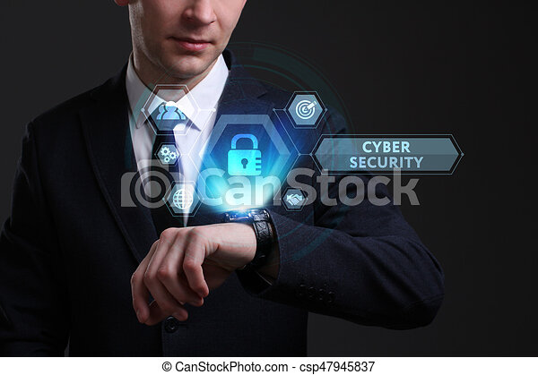 Business, Technology, Internet and network concept. Young businessman working on a virtual screen of the future and sees the inscription: Cyber security - csp47945837
