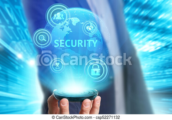 Business, Technology, Internet and network concept. Young businessman working on a virtual screen of the future and sees the inscription: Security - csp52271132