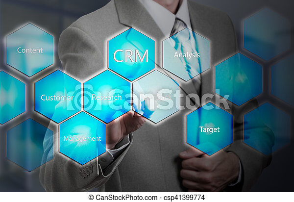 business, technology, internet and customer relationship management concept. Businessman pressing crm button on virtual screens - csp41399774