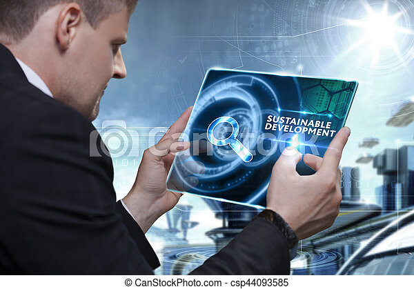 Business, Technology, Internet and network concept. Businessman working on the tablet of the future, select on the virtual display: Sustainable development - csp44093585