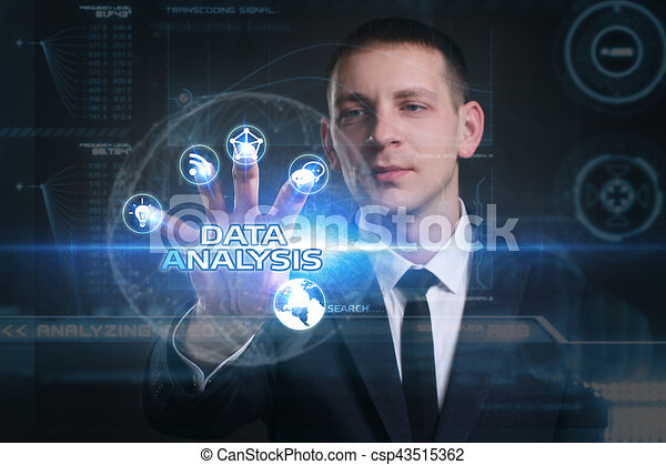 Business, Technology, Internet and network concept. Young businessman working on a virtual screen of the future and sees the inscription: data analysis - csp43515362