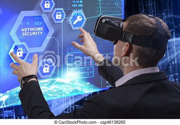 Business, Technology, Internet and network concept. Young businessman working on a virtual screen of the future and sees the inscription: Network security - csp46138265