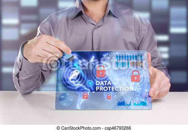 Business, Technology, Internet and network concept. Young businessman working on a virtual screen of the future and sees the inscription: Data protection - csp46793266