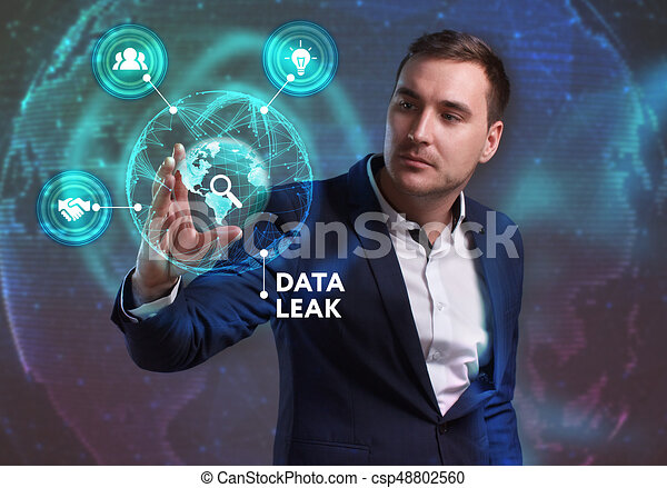 Business, Technology, Internet and network concept. Young businessman working on a virtual screen of the future and sees the inscription: Data leak - csp48802560