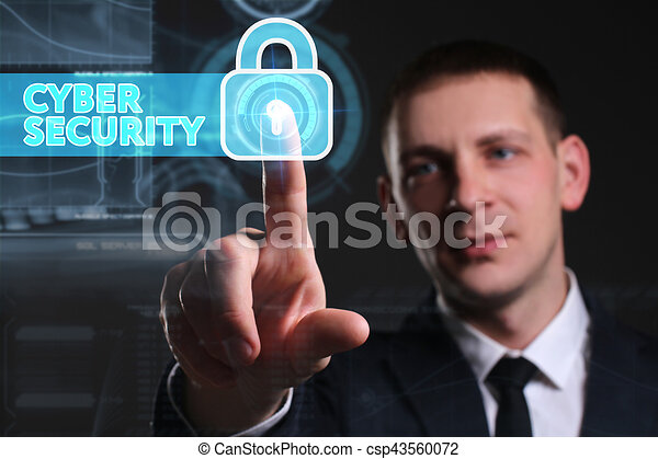 Business, Technology, Internet and network concept. Young businessman working on a virtual screen of the future and sees the inscription: Cyber security - csp43560072