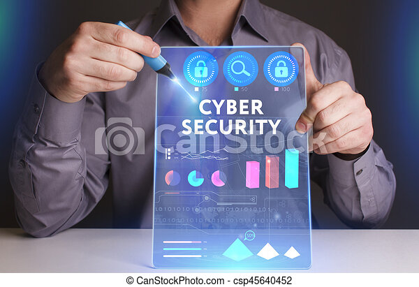 Business, Technology, Internet and network concept. Young businessman working on a virtual screen of the future and sees the inscription: Cyber security - csp45640452
