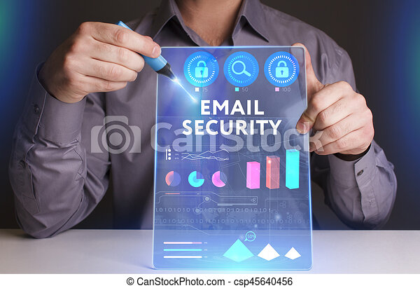 Business, Technology, Internet and network concept. Young businessman working on a virtual screen of the future and sees the inscription: ?mail security - csp45640456