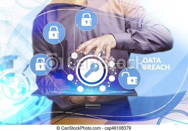 Business, Technology, Internet and network concept. Young businessman working on a virtual screen of the future and sees the inscription: Data breach - csp46108379