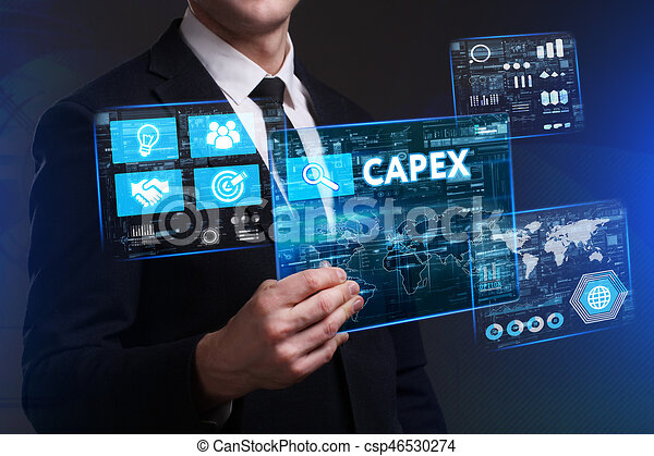 Business, Technology, Internet and network concept. Young businessman working on a virtual screen of the future and sees the inscription: Capex - csp46530274