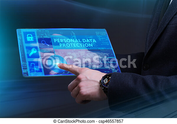 Business, Technology, Internet and network concept. Young businessman working on a virtual screen of the future and sees the inscription: Personal data protection - csp46557857