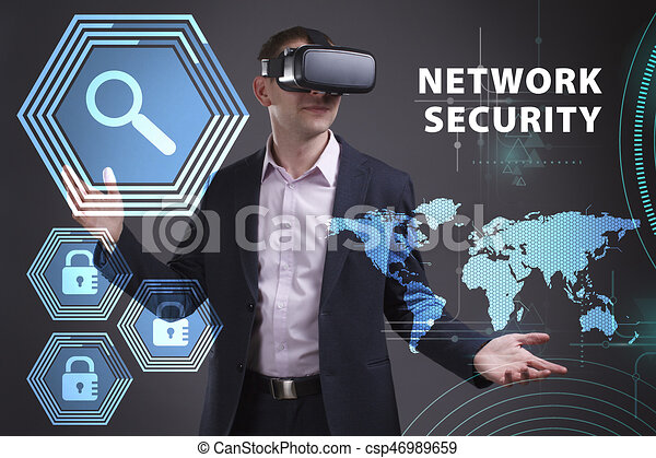 Business, Technology, Internet and network concept. Young businessman working on a virtual screen of the future and sees the inscription: Network security - csp46989659