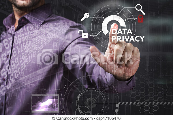 Business, Technology, Internet and network concept. Young businessman working on a virtual screen of the future and sees the inscription: Data privacy - csp47105476