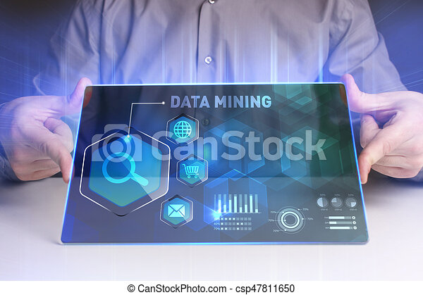 Business, Technology, Internet and network concept. Young businessman working on a virtual screen of the future and sees the inscription: Data mining - csp47811650