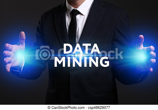 Business, Technology, Internet and network concept. Young businessman working on a virtual screen of the future and sees the inscription: Data mining - csp48629077