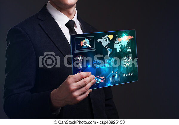 Business, Technology, Internet and network concept. Young businessman working on a virtual screen of the future and sees the inscription: Privacy alert - csp48925150