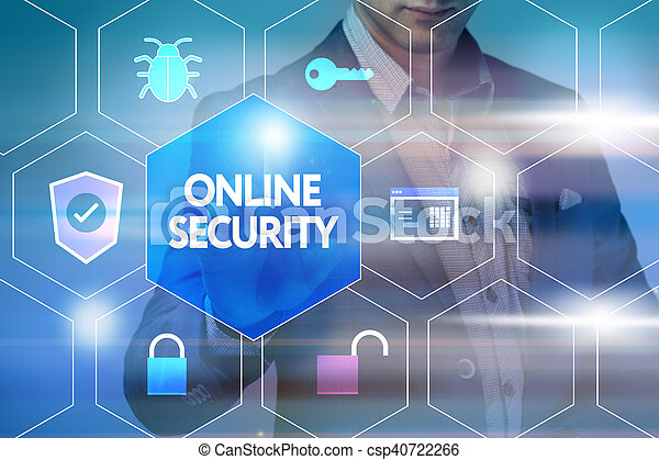 Business, technology, internet and networking concept. Businessman presses a button on the virtual screen: Online security - csp40722266